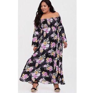 Black Floral Challis Off Shoulder Maxi Dress